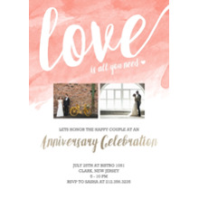 Anniversary Invitations Flat Matte Photo Paper Cards with Envelopes, 5x7, Card & Stationery -Watercolor Love