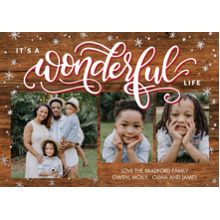 Christmas Photo Cards 5x7 Cards, Premium Cardstock 120lb with Elegant Corners, Card & Stationery -Christmas Wonderful Life by Tumbalina