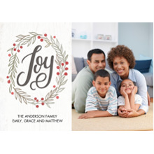 Christmas Photo Cards 5x7 Cards, Premium Cardstock 120lb with Rounded Corners, Card & Stationery -Christmas Joy Wreath