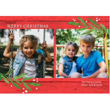 Christmas Photo Cards 5x7 Cards, Premium Cardstock 120lb with Elegant Corners, Card & Stationery -Christmas Simple Leaves