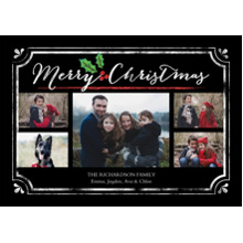 Christmas Photo Cards 5x7 Cards, Premium Cardstock 120lb with Elegant Corners, Card & Stationery -Christmas Holly Frame