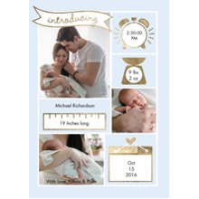Baby Boy Announcements 5x7 Cards, Premium Cardstock 120lb with Elegant Corners, Card & Stationery -Baby Detail Banner