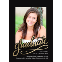 2019 Graduation Announcements 5x7 Cards, Premium Cardstock 120lb with Rounded Corners, Card & Stationery -Graduate Swirl
