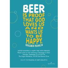 Birthday Party Invites 5x7 Cards, Premium Cardstock 120lb with Elegant Corners, Card & Stationery -Beer Quote Invitation
