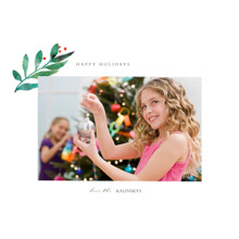 Christmas 5x7 Folded Cards, Premium Cardstock 120lb, Card & Stationery -Holly Branch