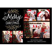 Christmas Photo Cards 5x7 Cards, Premium Cardstock 120lb with Scalloped Corners, Card & Stationery -Christmas 2018 Gold Foliage by Tumbalina