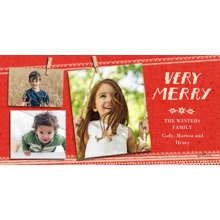 Christmas Photo Cards 4x8 Flat Card Set, 85lb, Card & Stationery -Very Merry Snapshot