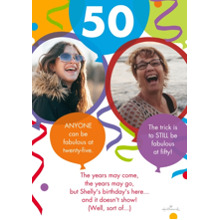 Birthday Party Invites 5x7 Cards, Premium Cardstock 120lb, Card & Stationery -Photos: Then and Now