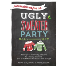 Christmas Party Invitations Flat Glossy Photo Paper Cards with Envelopes, 5x7, Card & Stationery -Holiday Ugly Sweaters Party