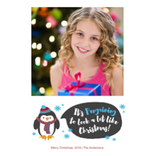 Christmas Photo Cards 5x7 Cards, Premium Cardstock 120lb with Scalloped Corners, Card & Stationery -A Penguin Christmas