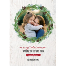 Christmas Photo Cards 5x7 Cards, Premium Cardstock 120lb with Elegant Corners, Card & Stationery -Christmas Rustic Holiday Wreath