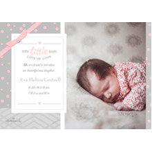 Baby Girl Announcements 5x7 Cards, Premium Cardstock 120lb with Elegant Corners, Card & Stationery -Lots of Love - Pink