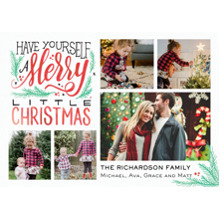 Christmas Photo Cards 5x7 Cards, Premium Cardstock 120lb with Rounded Corners, Card & Stationery -Christmas Merry Script Collage
