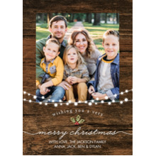 Christmas Photo Cards 5x7 Cards, Premium Cardstock 120lb with Elegant Corners, Card & Stationery -Christmas Lights Woodgrain by Tumbalina
