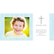 Christening + Baptism Flat Matte Photo Paper Cards with Envelopes, 4x8, Card & Stationery -Thank You Cross Damask