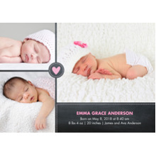 Baby Girl Announcements 5x7 Cards, Premium Cardstock 120lb with Elegant Corners, Card & Stationery -Baby Heart Pink