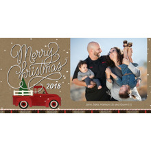 Christmas Photo Cards 4x8 Flat Card Set, 85lb, Card & Stationery -Red Truck Christmas 2018