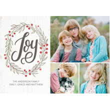Christmas Photo Cards 5x7 Cards, Premium Cardstock 120lb with Scalloped Corners, Card & Stationery -Christmas Joy Wreath Memories