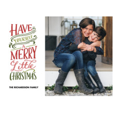Christmas Photo Cards 5x7 Cards, Premium Cardstock 120lb with Elegant Corners, Card & Stationery -Christmas Merry Little Colorful