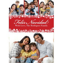 Christmas Photo Cards 5x7 Cards, Premium Cardstock 120lb with Elegant Corners, Card & Stationery -Feliz Navidad Snowflake Trim 4 Photo