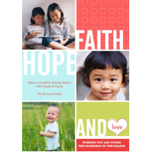 Christmas Photo Cards 5x7 Cards, Premium Cardstock 120lb with Elegant Corners, Card & Stationery -Faith, Hope & Love