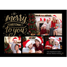 Christmas Photo Cards 5x7 Cards, Premium Cardstock 120lb with Elegant Corners, Card & Stationery -Christmas Gold Merry
