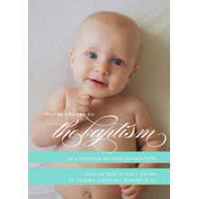 Christening + Baptism Flat Matte Photo Paper Cards with Envelopes, 5x7, Card & Stationery -Baptism Invitation Teal