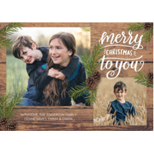 Christmas Photo Cards 5x7 Cards, Premium Cardstock 120lb with Elegant Corners, Card & Stationery -Christmas Rustic Pine Branches