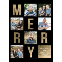 Christmas Photo Cards 5x7 Cards, Premium Cardstock 120lb with Rounded Corners, Card & Stationery -Christmas Merry Letters