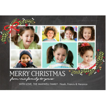 Christmas Photo Cards 5x7 Cards, Premium Cardstock 120lb with Scalloped Corners, Card & Stationery -Christmas Garland Corners Collage