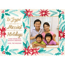 Christmas Photo Cards 5x7 Cards, Premium Cardstock 120lb with Rounded Corners, Card & Stationery -Poinsettia Garden
