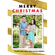 Christmas Photo Cards 5x7 Cards, Premium Cardstock 120lb with Rounded Corners, Card & Stationery -Gold Christmas Stripes by Posh Paper