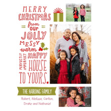 Christmas Photo Cards 5x7 Cards, Premium Cardstock 120lb with Elegant Corners, Card & Stationery -Jolly, Messy, Happy Christmas