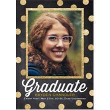 2019 Graduation Announcements 5x7 Cards, Premium Cardstock 120lb with Rounded Corners, Card & Stationery -Modern Dot Grad by Posh Paper