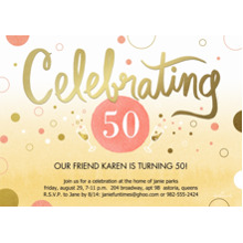 Birthday Party Invites 5x7 Cards, Premium Cardstock 120lb with Elegant Corners, Card & Stationery -Celebrating Pink and Gold Dots