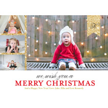 Christmas Photo Cards 5x7 Cards, Premium Cardstock 120lb with Elegant Corners, Card & Stationery -Modern Monogrammed Ribbon by Posh Paper