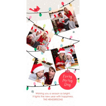 Christmas Photo Cards 4x8 Flat Card Set, 85lb, Card & Stationery -Merry String of Lights Collage by Hallmark