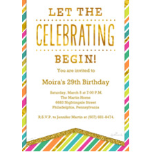 Birthday Party Invites 5x7 Cards, Premium Cardstock 120lb, Card & Stationery -Bright Stripes Celebration