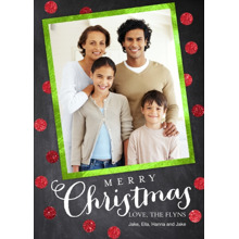 Christmas Photo Cards 5x7 Cards, Premium Cardstock 120lb with Elegant Corners, Card & Stationery -Chalkboard Dots Christmas by Posh Paper