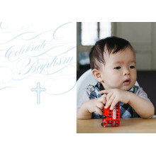 Christening + Baptism 5x7 Folded Cards, Standard Cardstock 85lb, Card & Stationery -Baptismal Blessings - Celestial Blue