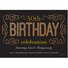 Birthday Party Invites 5x7 Cards, Premium Cardstock 120lb with Rounded Corners, Card & Stationery -Birthday Gold Scroll work