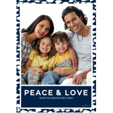 Christmas Photo Cards 5x7 Cards, Premium Cardstock 120lb with Elegant Corners, Card & Stationery -Peace and Love Border