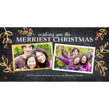 Christmas Photo Cards 4x8 Flat Card Set, 85lb, Card & Stationery -Christmas Merriest Gold Leaves