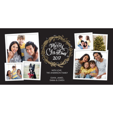 Christmas Photo Cards 4x8 Flat Card Set, 85lb, Card & Stationery -Christmas 2017 Wreath