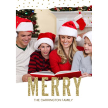 Christmas Photo Cards 5x7 Cards, Premium Cardstock 120lb with Rounded Corners, Card & Stationery -Merry Glitter Glitz