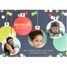 Christmas Photo Cards 5x7 Cards, Premium Cardstock 120lb with Rounded Corners, Card & Stationery -Merry and Bright Ornaments