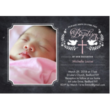 Christening + Baptism Flat Glossy Photo Paper Cards with Envelopes, 5x7, Card & Stationery -Baptism Doves with Cross