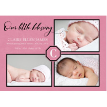 Baby Announcements Set of 20, Premium 5x7 Foil Card, Card & Stationery -Little Blessing Pink