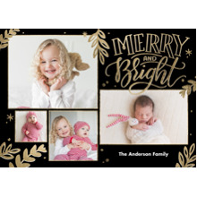 Christmas Photo Cards 5x7 Cards, Premium Cardstock 120lb with Scalloped Corners, Card & Stationery -Christmas Merry and Bright Frames