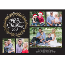 Christmas Photo Cards 5x7 Cards, Premium Cardstock 120lb with Scalloped Corners, Card & Stationery -Christmas 2018 Rustic Wreath Collage by Tumbalina
